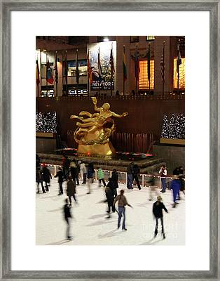 Christmas Skating Ny Style Framed Print by Karol Livote