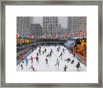 Christmas Skating, Rockefeller Ice Rink, New York Framed Print by Andrew Macara