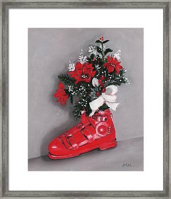 Christmas Ski Boot Framed Print by Anastasiya Malakhova