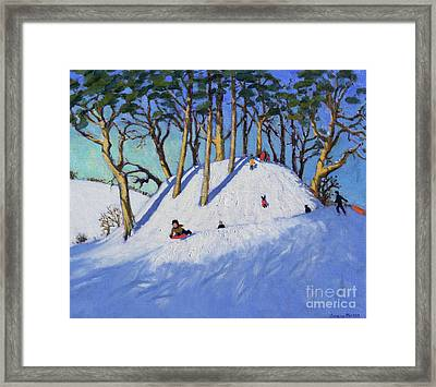 Christmas Sledging  Framed Print by Andrew Macara
