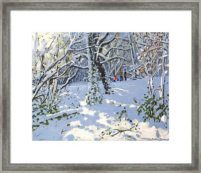 Christmas Sledging In Allestree Woods Framed Print by Andrew Macara