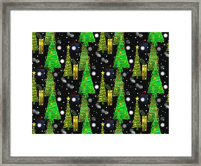 Christmas Snow Fall - Pattern Framed Print