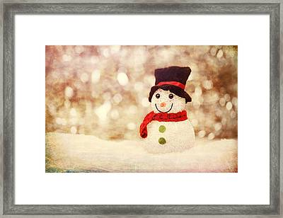 Framed Print featuring the photograph Christmas Snowman by Bellesouth Studio