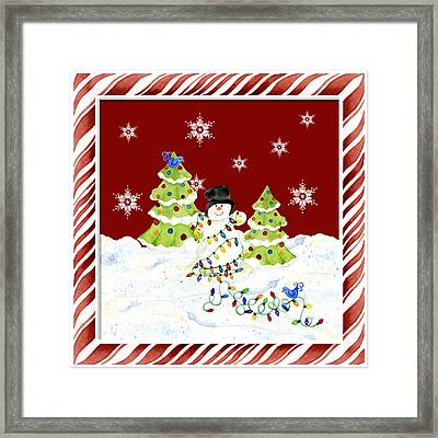 Christmas Snowman W Lights N Trees Snowflakes Candy Cane Stripes Whimsical Framed Print