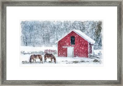 Christmas Snowstorm Vermont Watercolor Framed Print by Edward Fielding