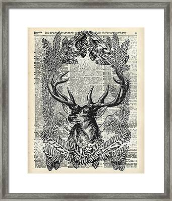 Christmas Stag Framed Print by Jacob Kuch