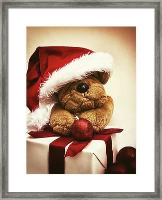 Christmas Teddy Bear Framed Print by Wim Lanclus