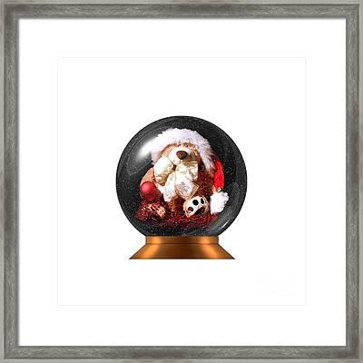 Christmas Teddy Snow Globe On A Transparent Background Framed Print