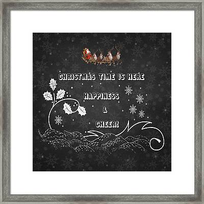 Christmas Time Is Here Chalkboard Artwork Framed Print by Georgeta Blanaru