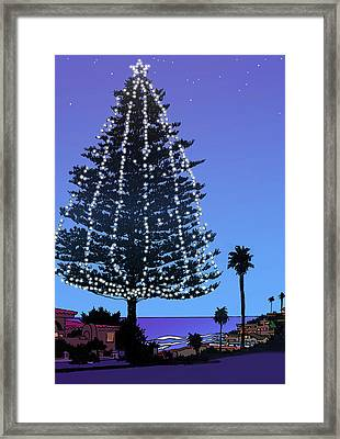 Christmas Tree At Moonlight Beach Encinitas, California Framed Print by Mary Helmreich