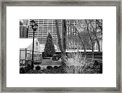 Christmas Tree In Bryant Park Framed Print by John Rizzuto