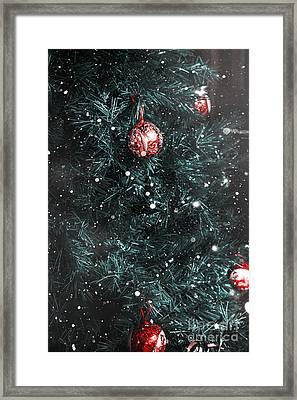 Christmas Tree In Winter Snow. Card Background Framed Print