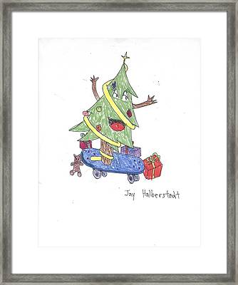 Christmas Tree On Skateboard Framed Print