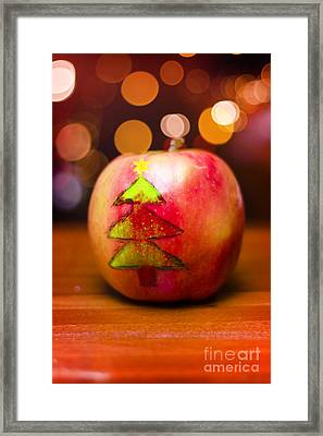 Christmas Tree Painted On Apple Decoration Framed Print by Jorgo Photography - Wall Art Gallery