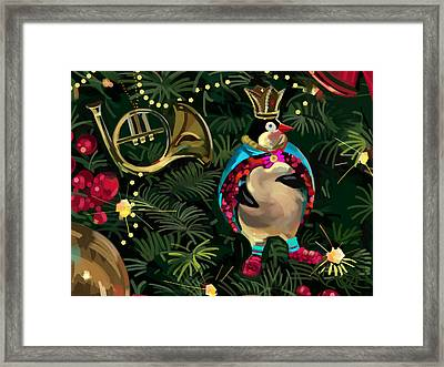 Christmas Tree Penguin Framed Print