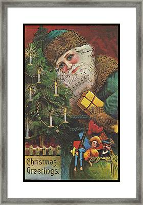 Christmas Tree Santa Framed Print by Unknown