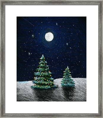 Christmas Trees In The Moonlight Framed Print