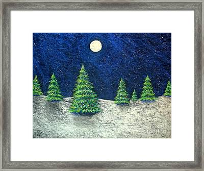 Christmas Trees In The Snow Framed Print