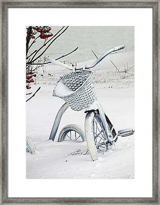 Christmas Tryke In White No Text  Framed Print by Maggie Terlecki