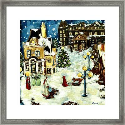 Christmas Village Framed Print by Carrie Joy Byrnes