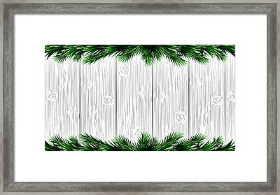 Christmas White Wooden Background With Green Fir Branches. Vector Illustration Framed Print
