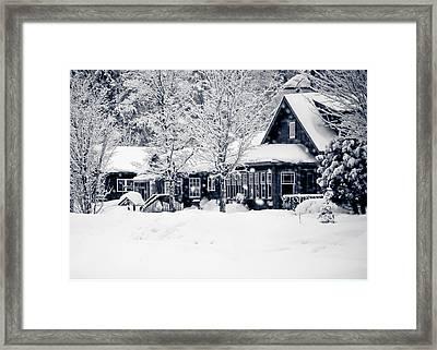 Christmas Winter Village - No Text  Framed Print by Maggie Terlecki
