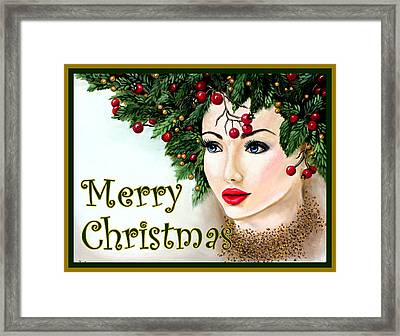 Christmas Woman-green/gold Framed Print by Pechez Sepehri