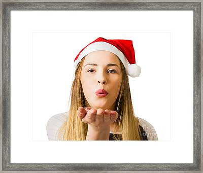 Christmas Woman Sending Hope And Prosperity Framed Print by Jorgo Photography - Wall Art Gallery