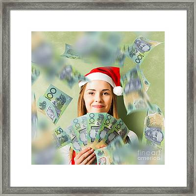 Christmas Woman With Australian Dollar Money Fan Framed Print by Jorgo Photography - Wall Art Gallery