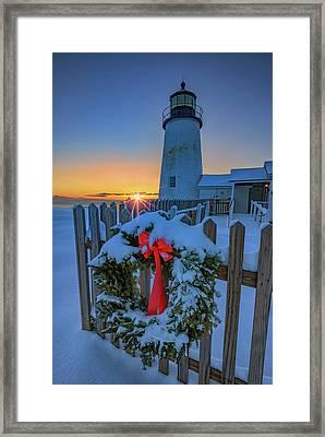 Christmas Wreath And Pemaquid Point Framed Print