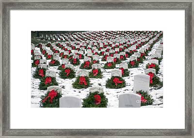 Christmas Wreaths Adorn Headstones Framed Print by Stocktrek Images