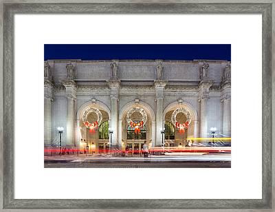 Christmastime At Union Station Framed Print by Robert Davis