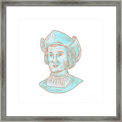 Christopher Colombus Explorer Bust Drawing Framed Print by Aloysius Patrimonio