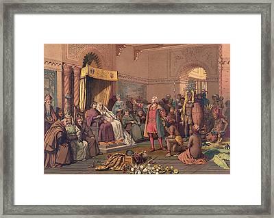 Christopher Columbus In The Barcelona Framed Print
