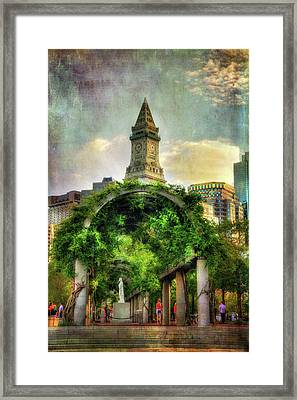 Christopher Columbus Park And The Custom House - Boston Framed Print