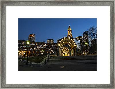 Christopher Columbus Park Boston Ma Trellis Custom House Framed Print