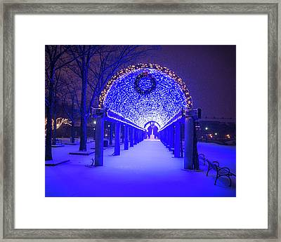 Christopher Columbus Park Trellis Lit Up For Christmas Snowstorm Boston Ma Bench Framed Print by Toby McGuire