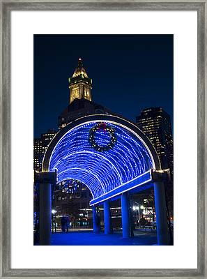 Christopher Columbus Park Trellis Lit Up In Blue For Christmas Boston Ma Framed Print