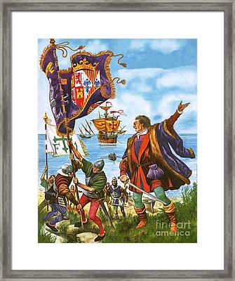 Christopher Columbus Planting The Spanish Royal Standard On The Newly Found Land Of America Framed Print by Peter Jackson