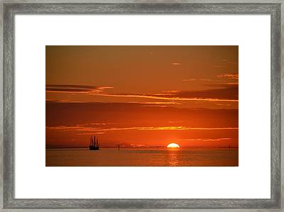Christopher Columbus Replica Wooden Sailing Ship Nina Sails Off Into The Sunset Framed Print