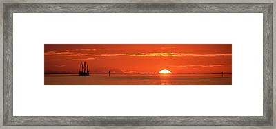 Christopher Columbus Sailing Ship Nina Sails Off Into The Sunset Panoramic Framed Print