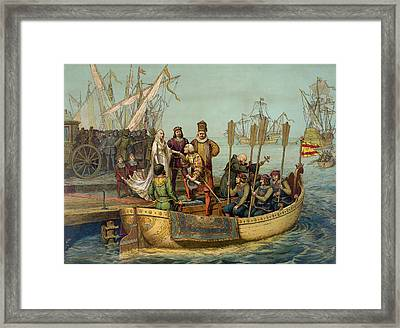Christopher Columbus Taking Leave Framed Print by American School