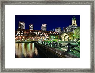 Christopher Columbus View Of Boston Framed Print by Frozen in Time Fine Art Photography