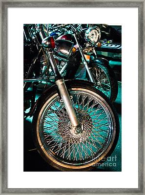 Chrome Rim And Front Fork Of Vintage Style Motorcycle Framed Print