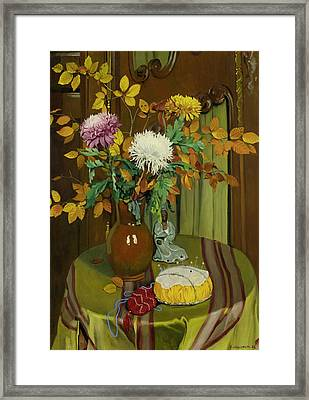 Chrysanthemum And Autumn Foliage Framed Print by Felix Vallotton