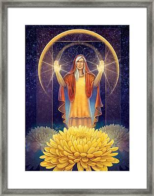 Chrysanthemum - Light In The Darkness Framed Print
