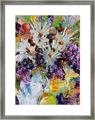 Framed Print featuring the painting Chrysanthemums And Lilacs Still Life by Ginette Callaway