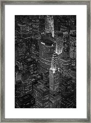 Chrysler Building Aerial View Bw Framed Print by Susan Candelario