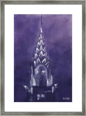 Chrysler Building Violet Night Sky Framed Print by Beverly Brown