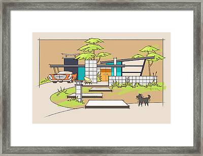 Chrysler With Black Dog, A Mid-century Home Framed Print